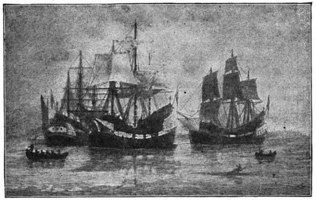 Drawing of the Winthrop Fleet arriving in 1630